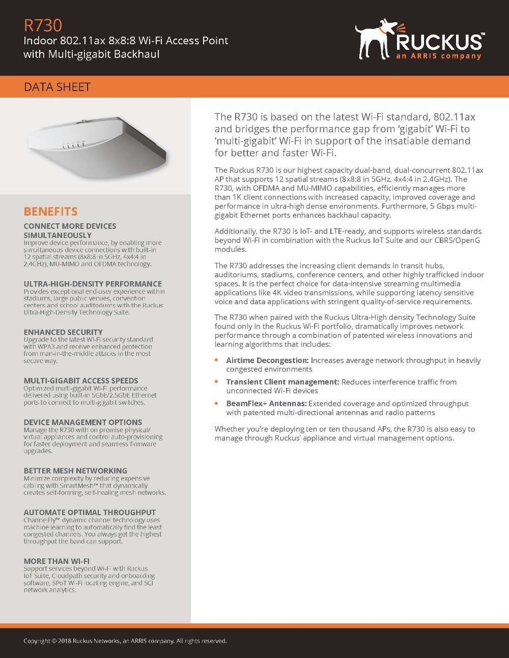 Ruckus Wireless ZoneFlex R730 901-R730-WW00 (alike 901-R730-US00) With PoE  Injector (902-0162-CH00) 802 11ax Access Point 8x8:8