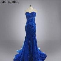 Настоящее фото на заказ Vestidos Вечеринка Русалка без бретелек сексуальные блестящие блестками Королевский синий цвет вечернее платье