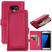 2in1 Wallet Case Back Cover For Samsung Galaxy S5 S6 S6edge S7 S7edge Flip PU Leather