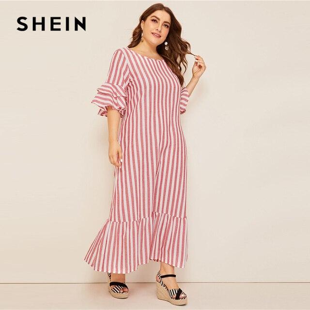 SHEIN Plus Size Bell Sleeve Ruffle Trim Striped Maxi Dress 2019 Women Spring Summer Casual Ruffle Hem Half Sleeve Tunic Dresses 3