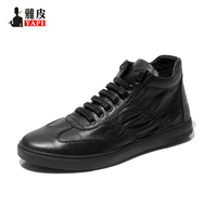 Hight Quality Genuine Leather Mens Ankle Boots Lace Up Boys Fashion Martin Boots Winter Trendy Sneaker
