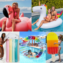 цена 2019 Newest Flamingo Unicorn Pool Float Swimming Ring Air Mattress Pool Party Inflatable Toys For Children Adult Water Toys boia онлайн в 2017 году