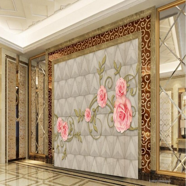 Beibehang Large Custom HD Wallpaper Fashion Golden Pattern Rose Marble TV  Living Room Background Home Decor