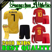 e8d21b7fdce Top quality 2018 world cup Belgiumes Men home away Soccer Jersey 18 19  adult Football shirt adult kit+socks Free shipping