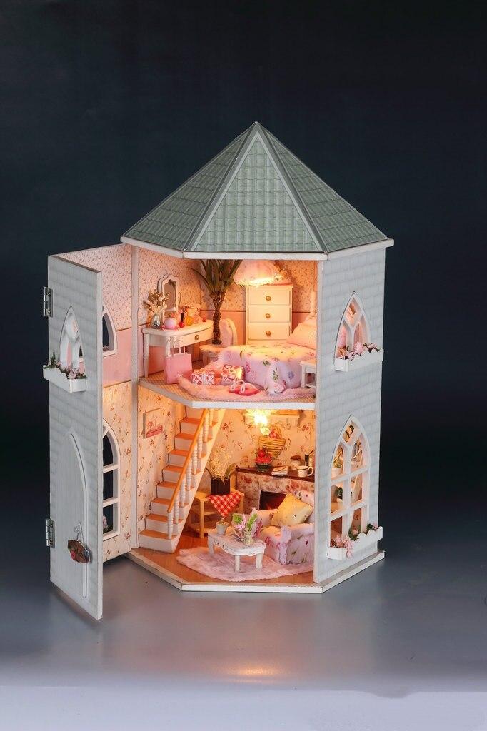 3D bricolage maison de poupée en bois jouet maisons Miniature maison de poupée Kit de meubles jouets pour enfants poupée grognons jouet maison chambre miniature