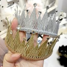 1PCS/LOT Glitter Felt Crown Solid Hairband Pearl Royal Style Kids Headbands Shinning Crystal Luxury Girls Prince