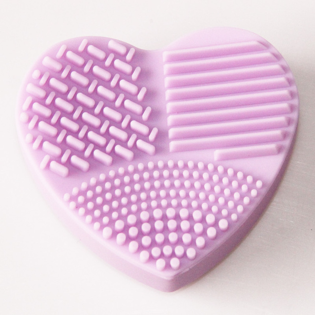 Heart Shape Silica Scrubber Cosmetic Makeup Brush Cleaner