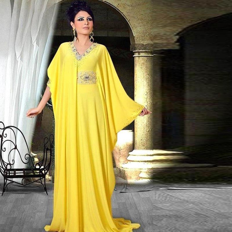 Bright Yellow Indian Evening Dress V Neck Long Sleeves Straight