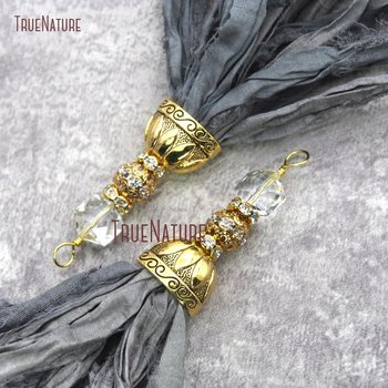 10pcs Dark Gray Gold Cap Sari Silk Pendants With Crystal and Gold Rhinestone Ball Yarn Ribbon Tassel Pendant PM20063