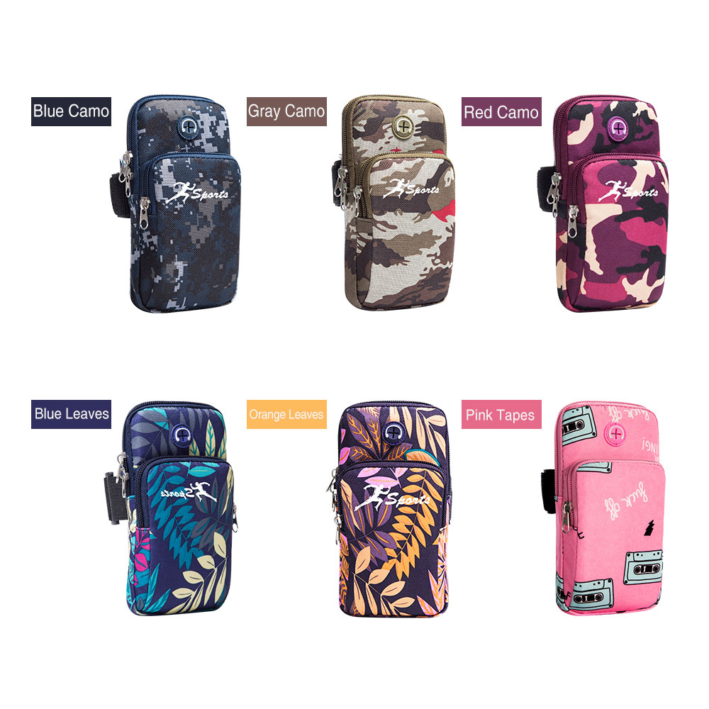 Running Arm Bags Autumn Camouflage Branch Style Arm Package Holders For Phone Money Keys With Headset Hole