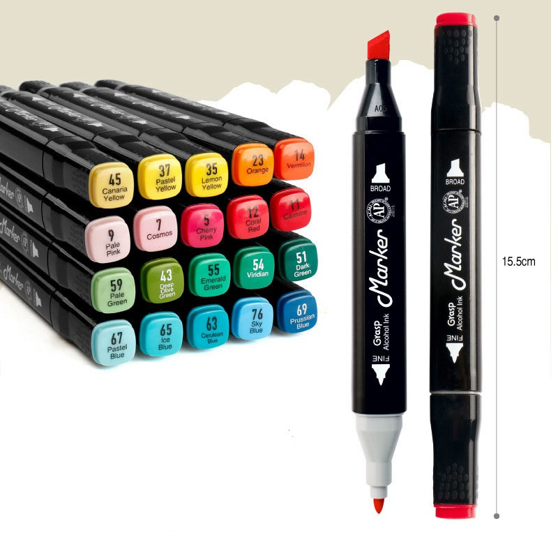 Deli Artist Double Headed Sketch Marker Set 12/24/36/48/60 Colors Markers Brush Pen Drawing Pen for Art Sketch Design Supplies touchnew 30 40 60 80 colors artist design double head marker set quality sketch markers for school drawing art marker pen