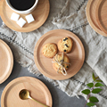 Dia 14cm Wooden Plate Mug Coaster Mini Round Wood Plate Cake Tray Snack Fruit Dessert Serving Dishes Wooden Utensils Tableware