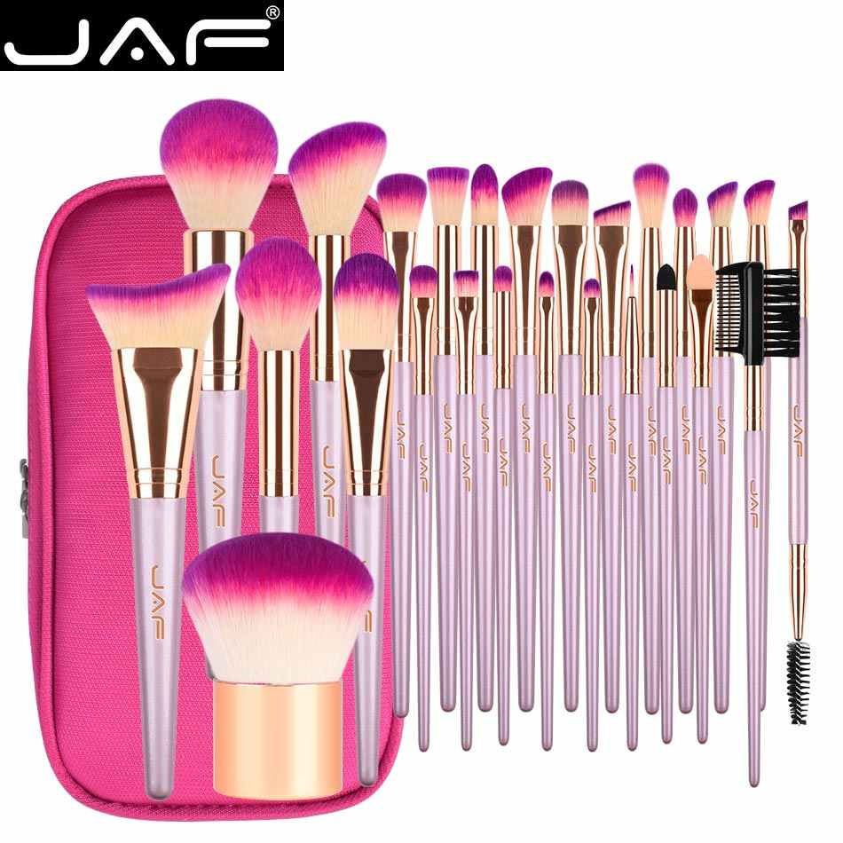 JAF 26pcs Gold Makeup Brush Set with Zipper Case Travel Cosmetic Bag Make Up Brushes Professional Studio Synthetic Quality Brush