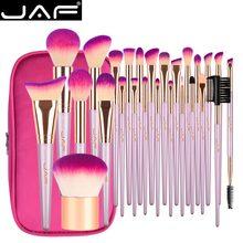 Jaf 26 pçs conjunto de escova de maquiagem de ouro com zíper caso saco cosmético de viagem compõem escovas estúdio profissional escova de qualidade sintética
