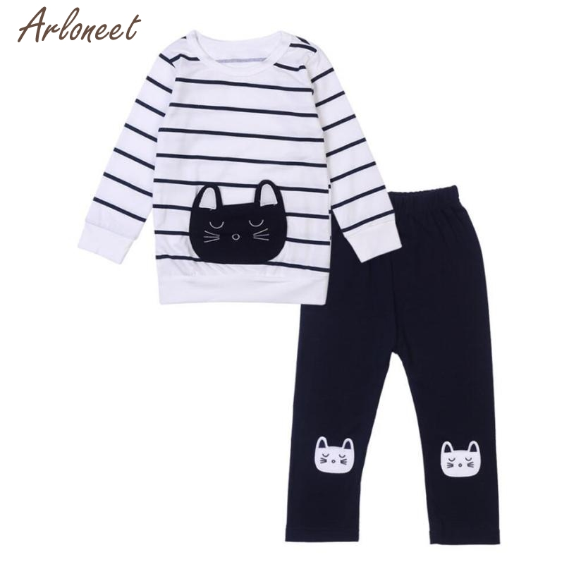 2017 baby sets boys girls Cute Toddler Infant Baby Cat Stripe Long Sleeve T-Shirt + Pants Outfits Clothes Dec 5