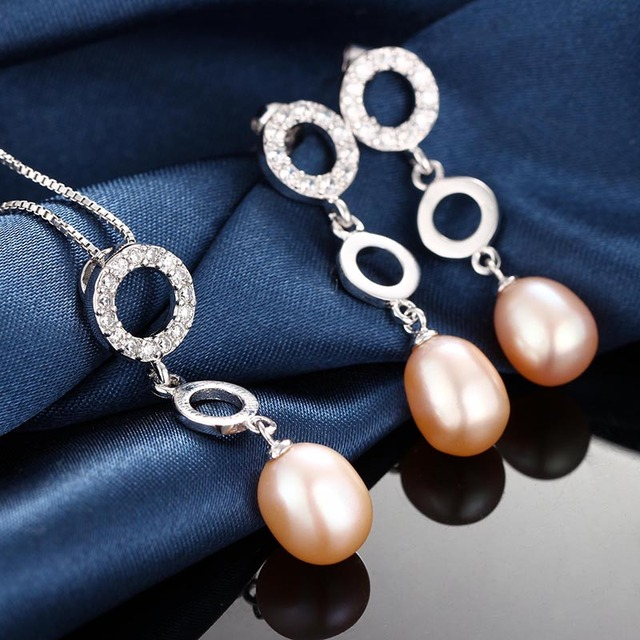 HENGSHENG white pink purple black natural freshwater pearl jewelry sets for women, pendant&earrrings sets