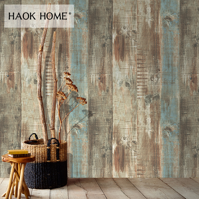 Haokhome 3d Faux Wood Wallpaper Roll 0 53m 10m Realistic Contact