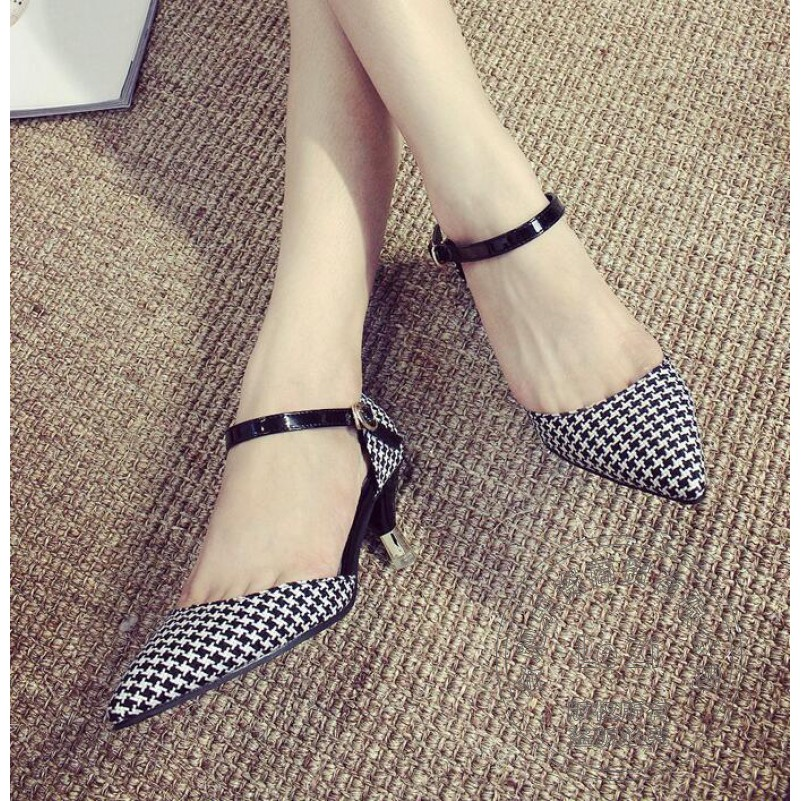 Women Dress Shoes Pumps Pointed Toe High Heels Mary Jane Pointy Black And White Color Block Stiletto Swallow Grid Houndstooth