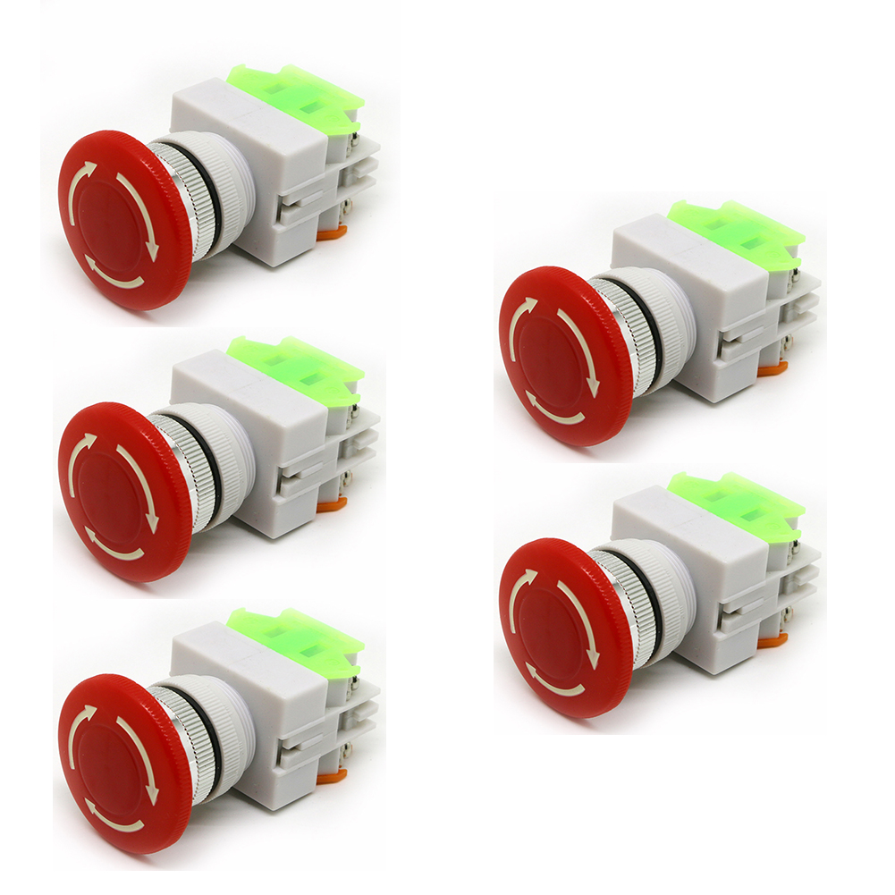 5pcs NC NO DPST Latching Mushroom Emergency Stop Push Button Switch AC 600V 10A стоимость