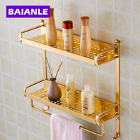 Gold Modern Wall Mount 2 Layers Bathroom Towel Holder Aluminium Bathroom Accessories Shower Shelf Towel Rack