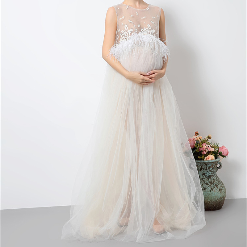 Hot Maternity Photography Props Pregnant Feathes Dress Maternity Clothes Long Pregnancy Photo Bunny Girl Dresses YL414