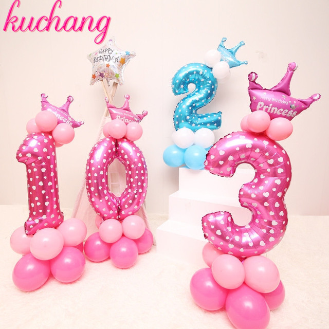 19pcs Lot Baby Shower Latex Balloons 30inch Number Foil Balloon Child 0 9 Year Old Birthday Party Decor Stand Set Digital Column