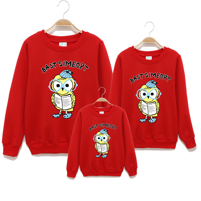 2016 Brand Spring Family Cotton Family Clothing Mother And Kids Long-Sleeve T-shirt Clothes Cartoon Print O-neck Hoodies S-3XL