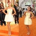 2016 Barato Ariana grande Amarillo Mini Short Celebrity Vestidos Vestidos de Noche