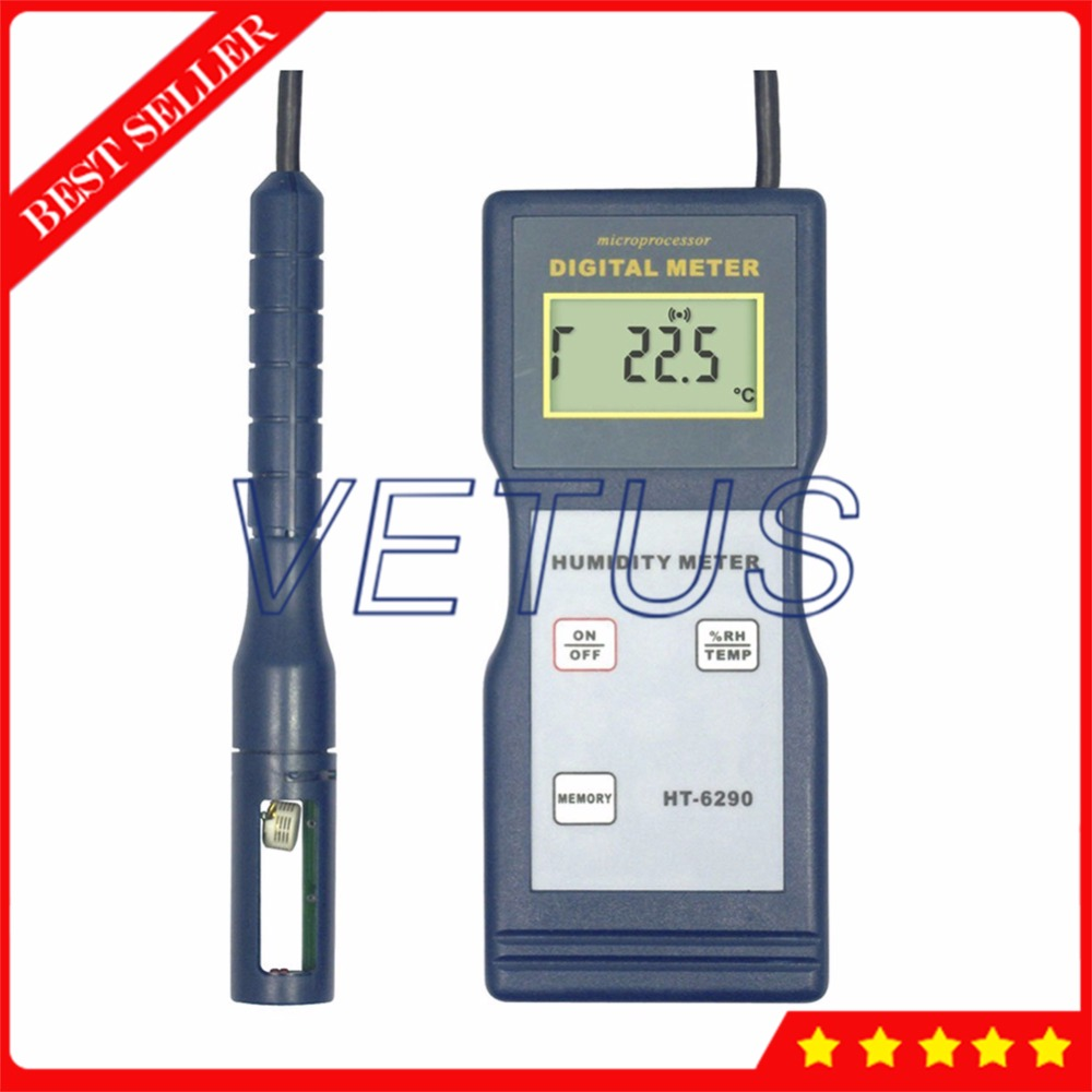 HT-6290 Digital Temperature Humidity Meter with high resolution LCD thermo-hygrometer portable lcd digital manometer pressure gauge ht 1895 psi air pressure meter protective bag manometro pressure meter