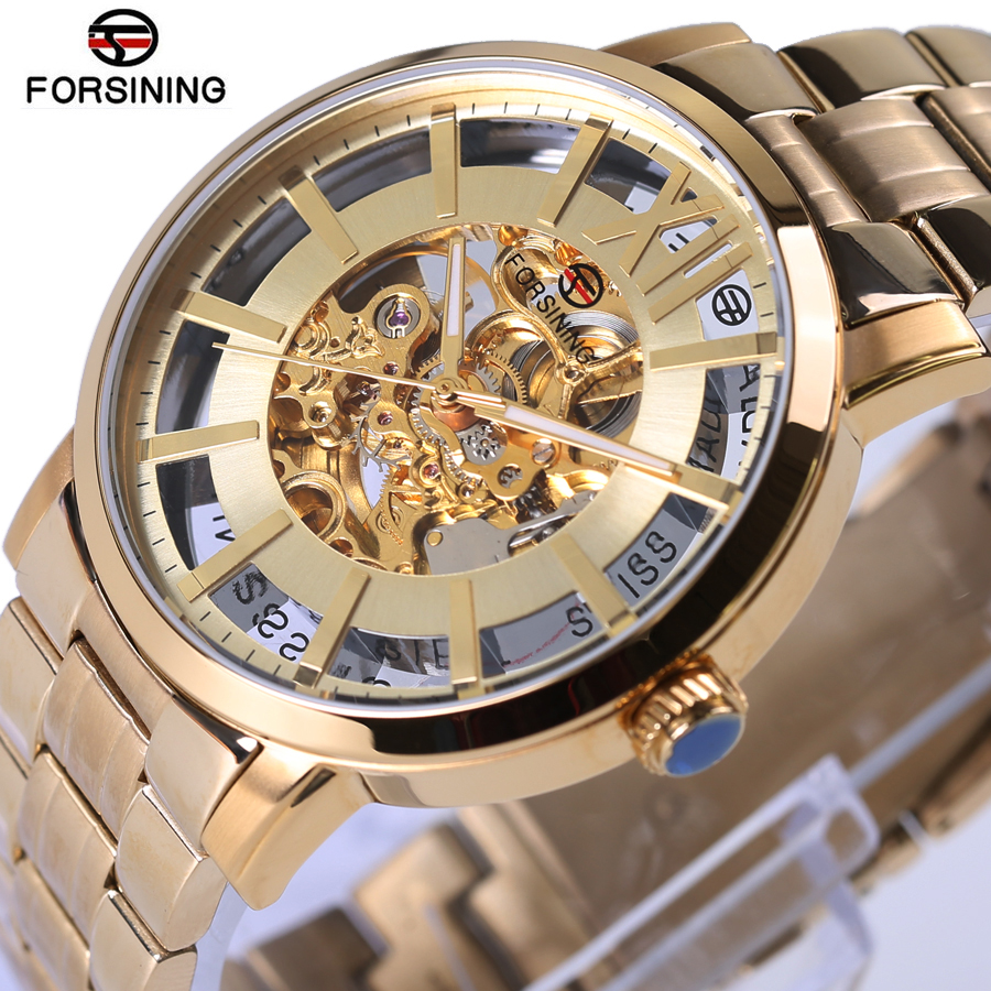Forsining Automatic Mens Watches Top Brand Luxury Golden Fashion Style Stainless Steel Transparent Waterproof Sapphire Mirror forsining 3d skeleton twisting design golden movement inside transparent case mens watches top brand luxury automatic watches