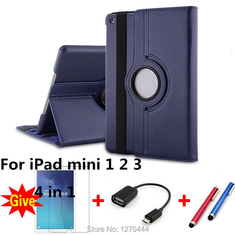 360 Rotating Litchi skin Leather case filp stand tablet cover for ipad mini 1 2 3