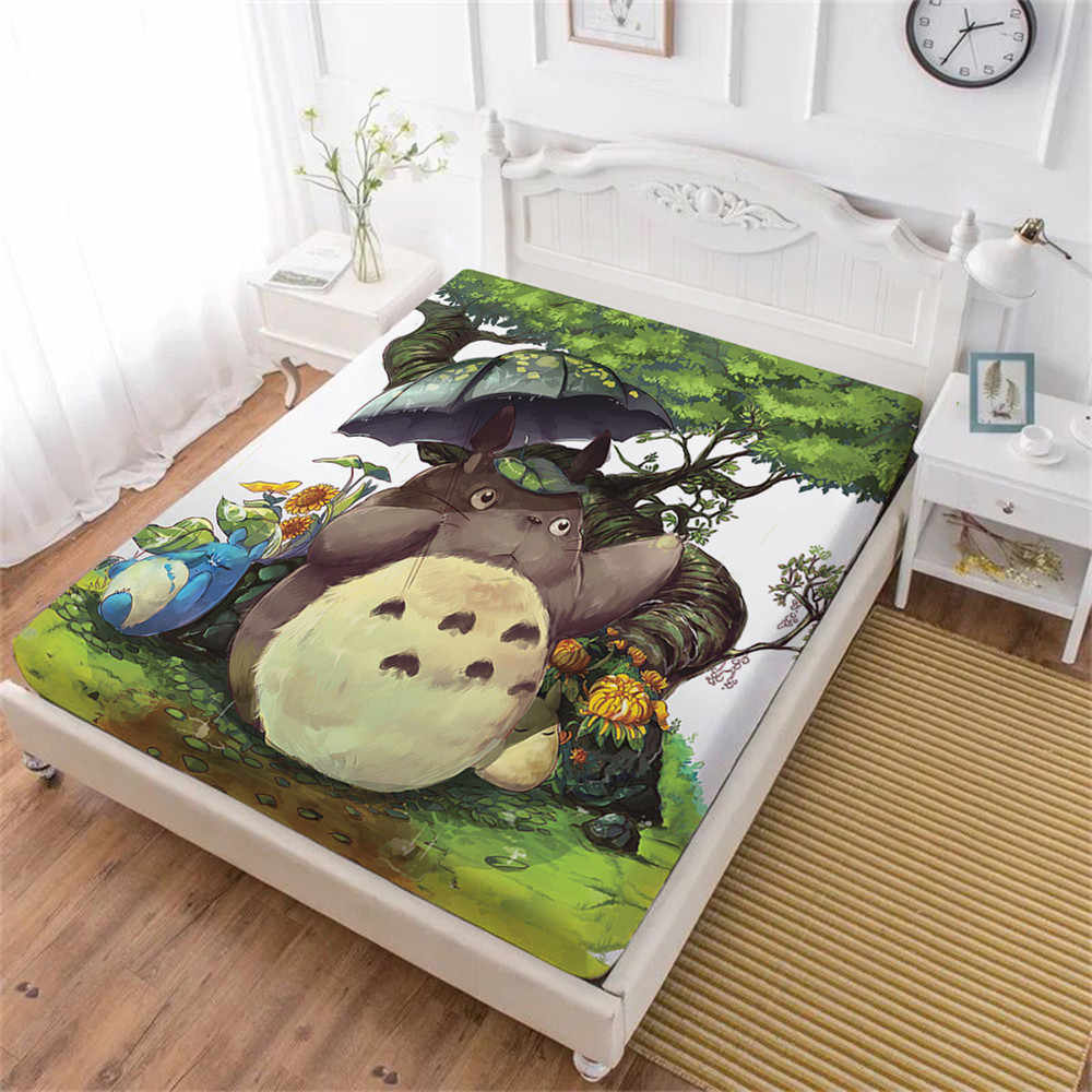 Cute Totoro Bed Sheet Cartoon Green Forest Tree Fitted Sheet Nature Natural Scenery Umbrella Printed Bedding Kids Bedclothes D40