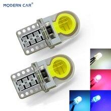 MODERN CAR T10 W5W led Light Bulb 8SMD Auto LED Lamp Bridgelux COB Silicone Super Bright Signal DRL Side Lamp White Red Blue цена