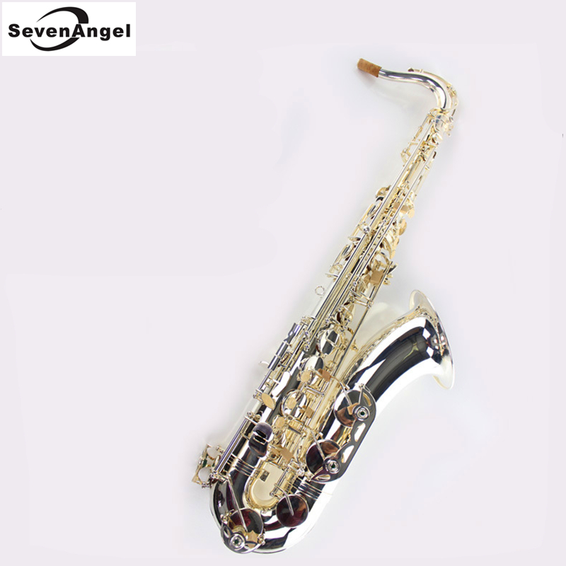 Tenor Saxophone Bb Wind Instrument Sax Western Instruments nickel plated Tenor Sax saxofone Professional Musical Instruments professional new silver plated trumpet bb keys with monel valves horn case