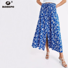 ROHOPO Sky Blue Girl Multiways Midi Skirt Elasticity High Waist Accordion Preppy Big Tiny Floral falda #CW9205