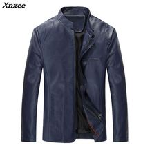 2018 Autumn Winter Men Casual Businessmen Leather Jacket PU Fashion Motorcycle Rider Black Red Blue Windproof Coat M~5XL Xnxee