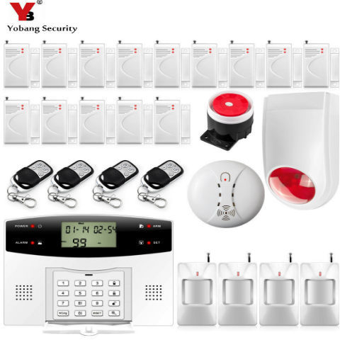 YobangSecurity 433MHz 30A 99 Wireless Zones LCD Keyboard Voice Prompt GSM Alarm System Security Home Flash Siren Smoke Detector