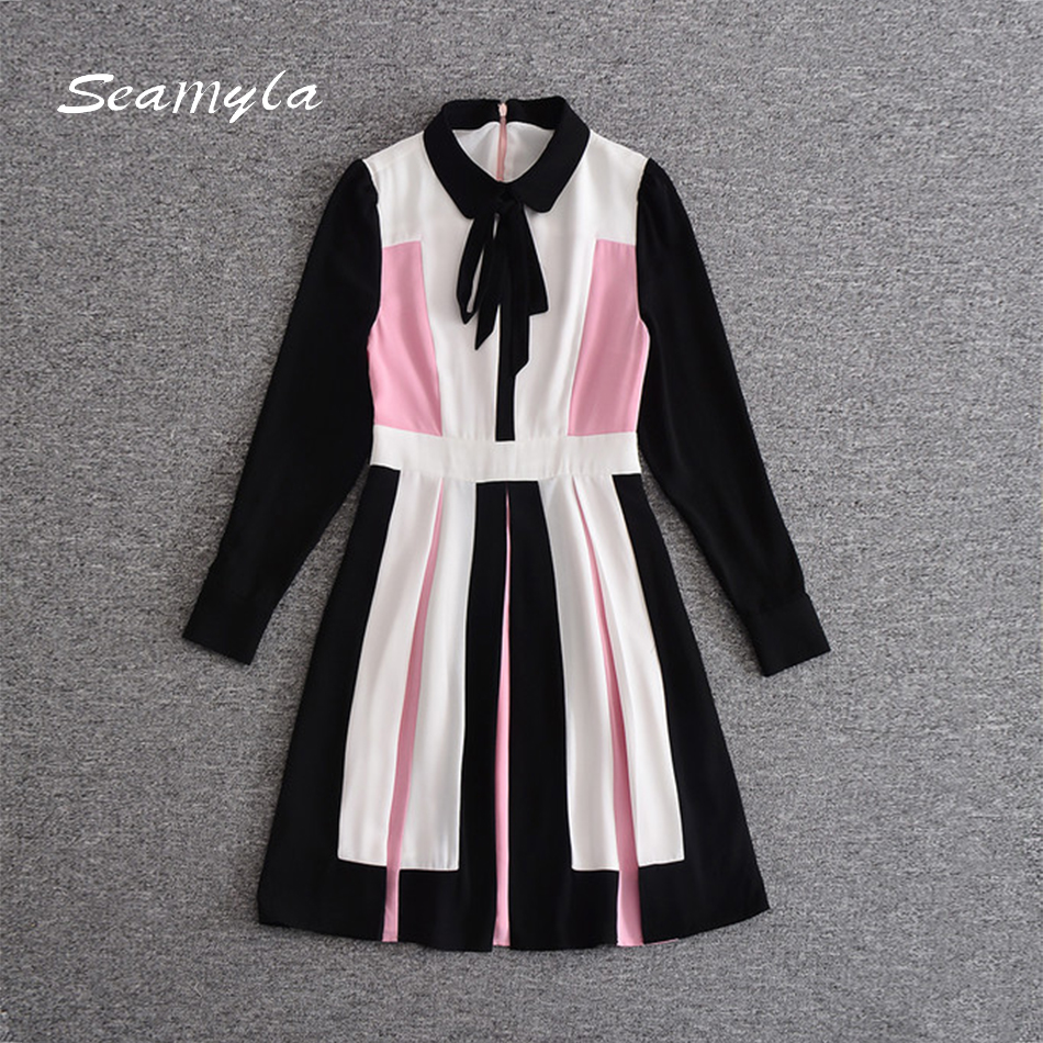 Seamyla 2017 New Autumn Dress Women Long Sleeve Colorblock Patchwork Runway Dresses Knee Length Fashion Tie Bow Casual Dress new arrival 2018 autumn knitted dresses fashion women long sleeve v neck knee length dress casual solid female dress clothes