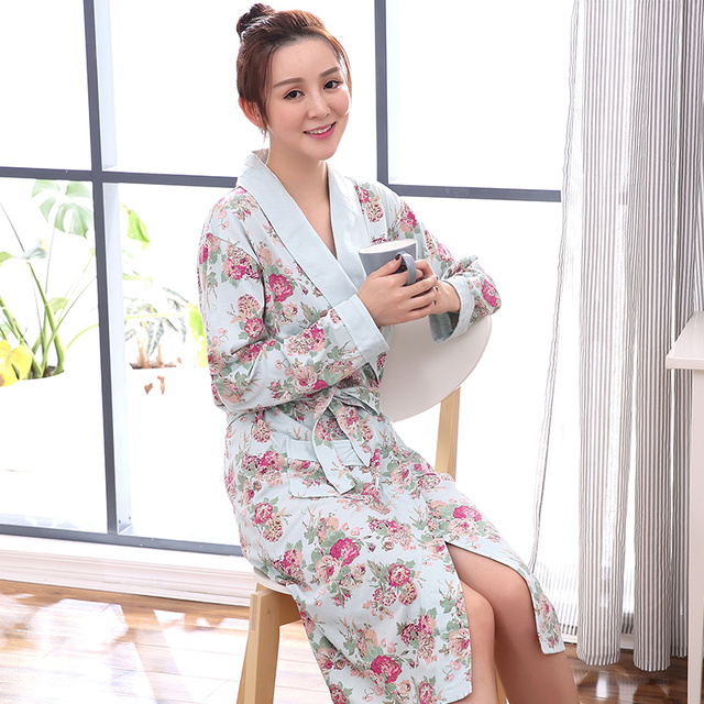2017 Autumn Winter Floral Sleepwear for lady Bathrobe Nightgowns ...