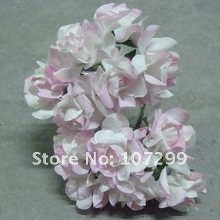 free shipping new arrival 144pcs pink handmade mini paper flower wedding invitation card scrapbook