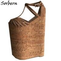 Sorbern коричневый на очень высоком каблуке женские сандалии на танкетке с Т образным ремешком открытый носок 32 см каблуке Обувь на толстой пла