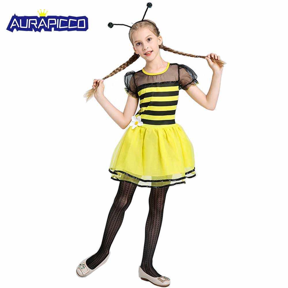 Little Girl Bee Costume Kids Children Fairy Fancy Dress Black Yellow Stripe  Dress Tween Halloween Carnival a87033aa709d