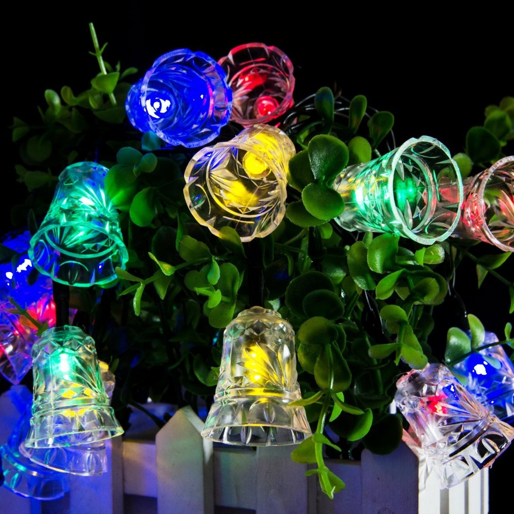 LumiParty LED Bell Garland Solar Fairy String Lights Solar Outside Christmas Lights Outdoor For Christmas Party Decoration