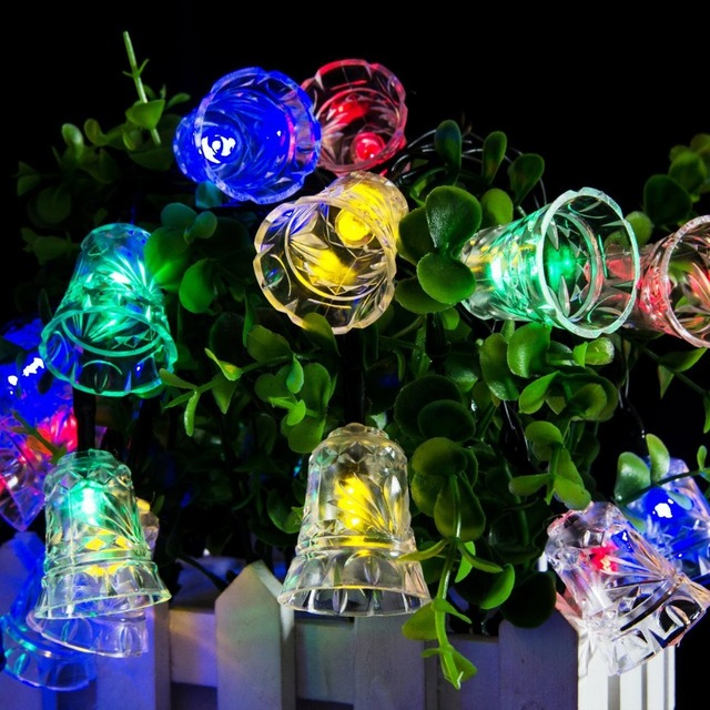 lumiparty led bell garland solar fairy string lights solar outside christmas lights outdoor for christmas party