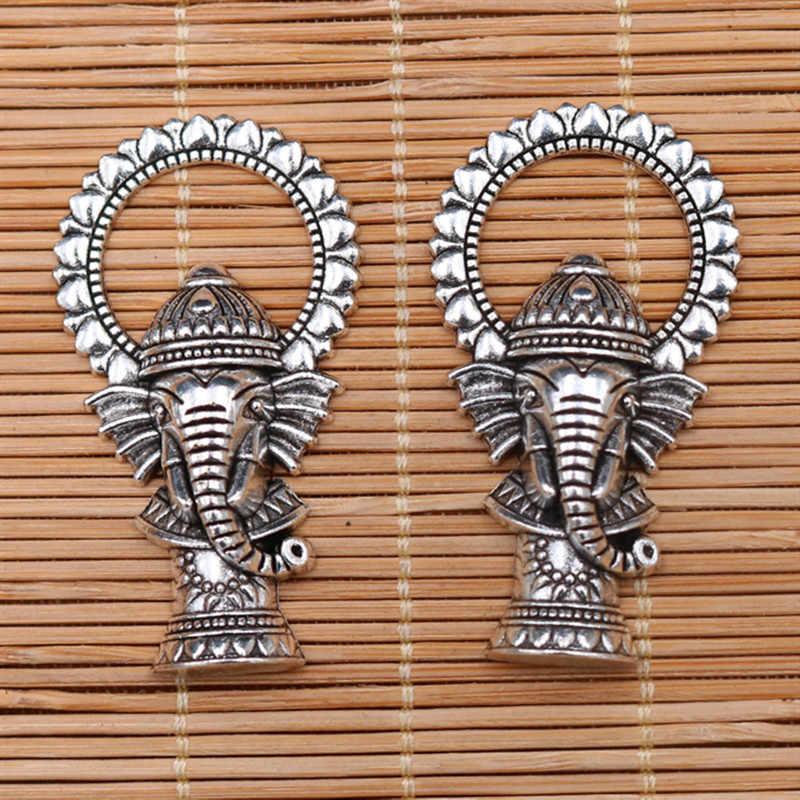 WKOUD 4pcs כסף צבע 3D הודי פיל אלוהים גנש קסם דתי שרשרת מפתח שרשרת DIY מתכת תכשיטי תליוני A384