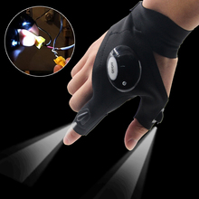 Fishing Magic Strap Fingerless Glove LED Flashlight Torch Cover Camping Hiking Lights Multipurpose Right Hand