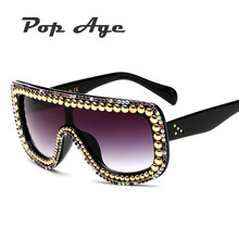 Pop Age 2017 Newest Luxury Oversized Sunglasses Women Fashion Square Pearl Diamond Sun glasses Vintage Eyewear Lentes de sol