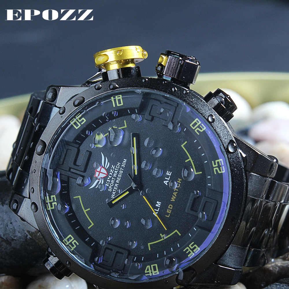 EPOZZ Sport Watch 3ATM Quartz Digital LED Dual Time Date Day Alarm Chronograph Stainless Steel Band Strap Outdoor Men WristWatch
