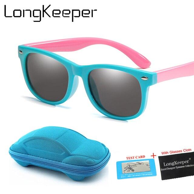 7f4363103df3 TR90 Kids Sunglasses Polarized Child Sun Glasses 1.5-11 Years Old Boys  Girls Eyewear Lovely Pink Blue Baby Glasses Soft Glasses