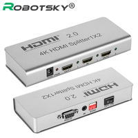 RobotSky HDMI 2.0 Splitter 4K 1X2 2160P 1 IN 2 Out HDMI Splitter Switcher With EDID RS232 HDCP Support IR Extender For HDTV DVD